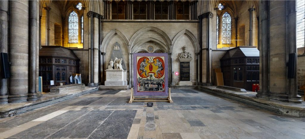screenshot of a Grayson Perry textil artwork in a Cathedral space