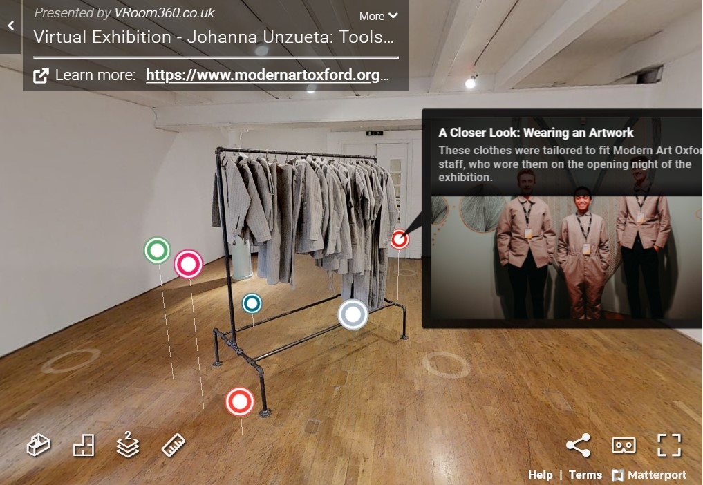 screen shot of 360 walkthrough of Johanna Unzueta's exhibition at Modern Art Oxford