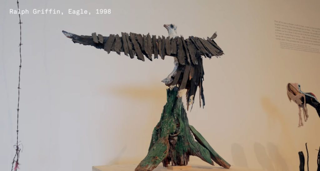 still from video tour of We Will Walk exhibition showing eagle sculpture