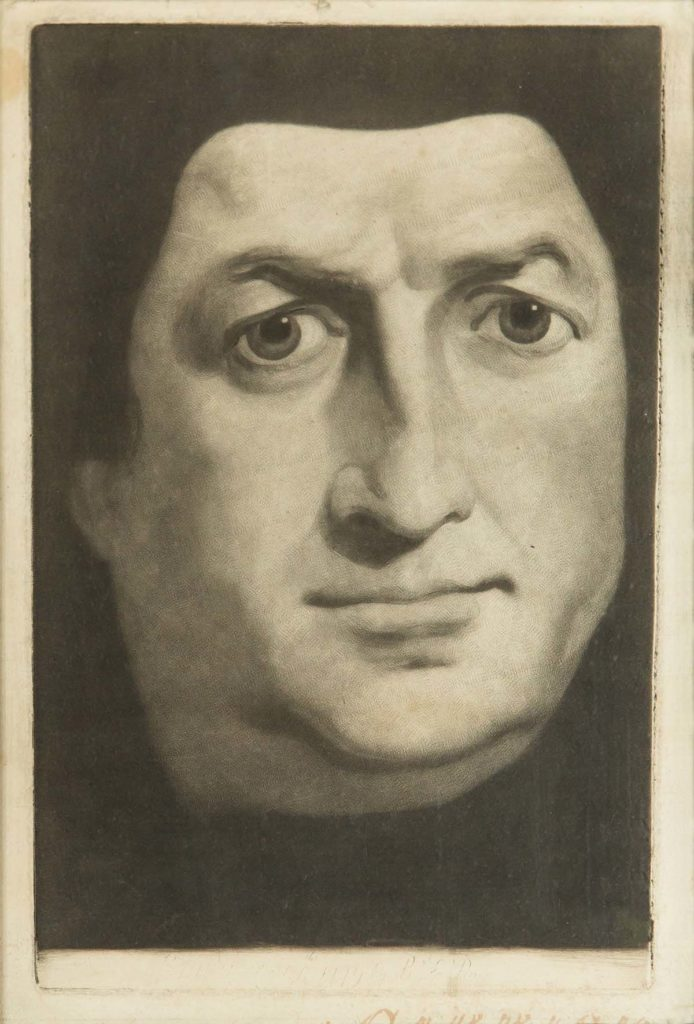 a print showing a portrait of a man with expressive eyes