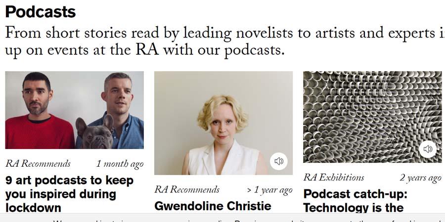 RA podcast page screenshot