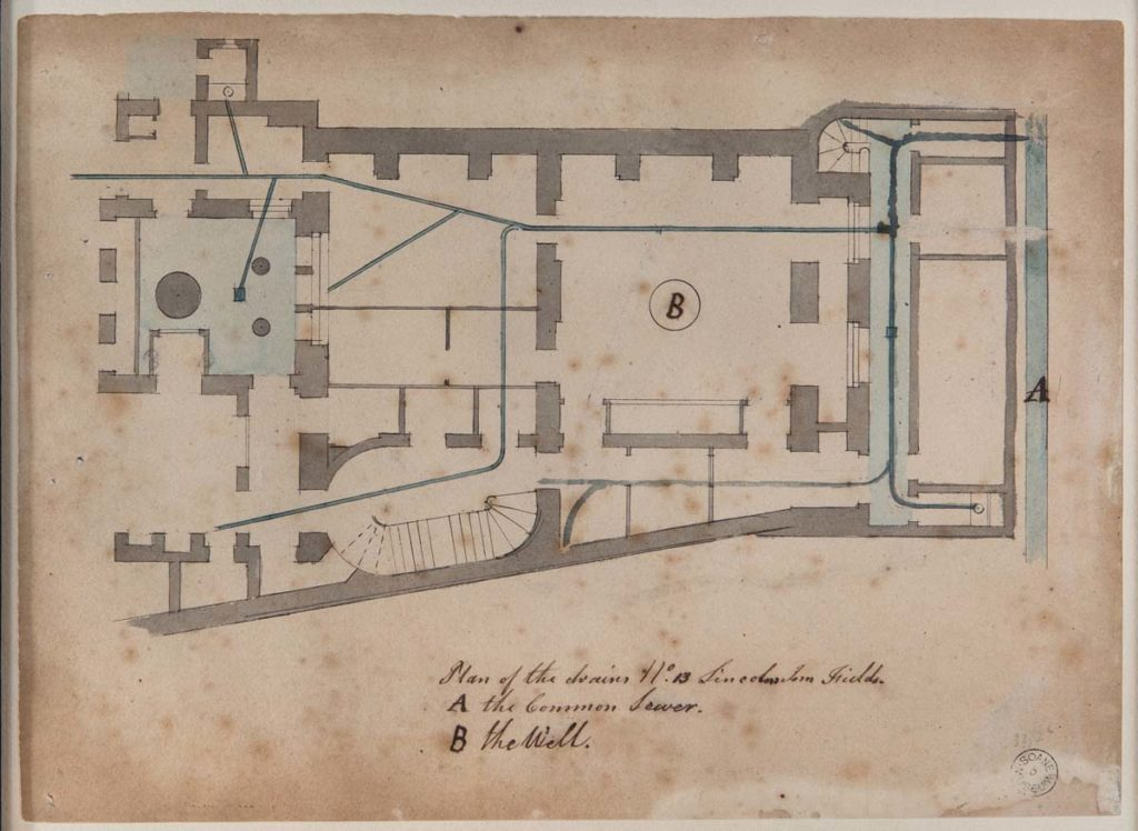 a plan showing a house's plumbing and drainage