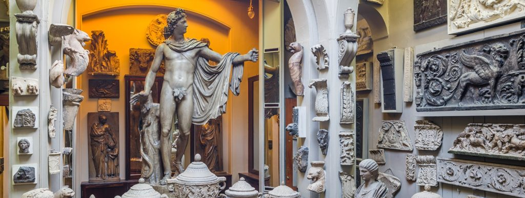 photo of a room filled with sculpture