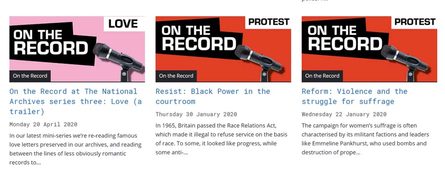 a screenshot of the on the record podcast website