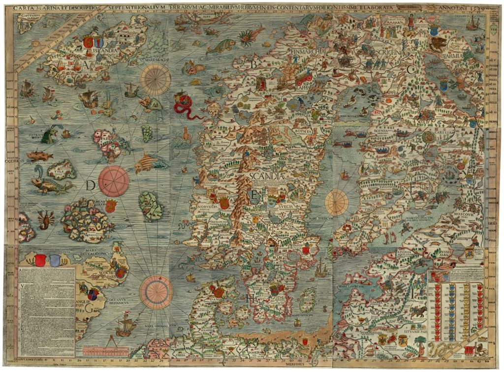 a meieval sea map showing Scandinavia and the sea filled with monsters and other creatures