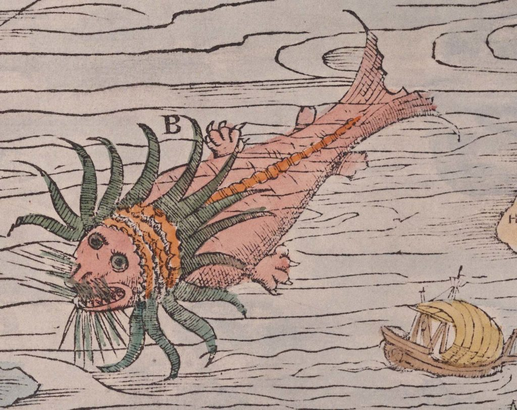 map detail showing a wlarus like creature with neck frill