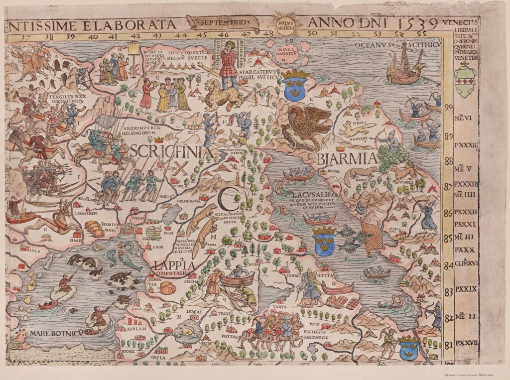 a medieval sea map showing land mass and sea covered with mythical creatures