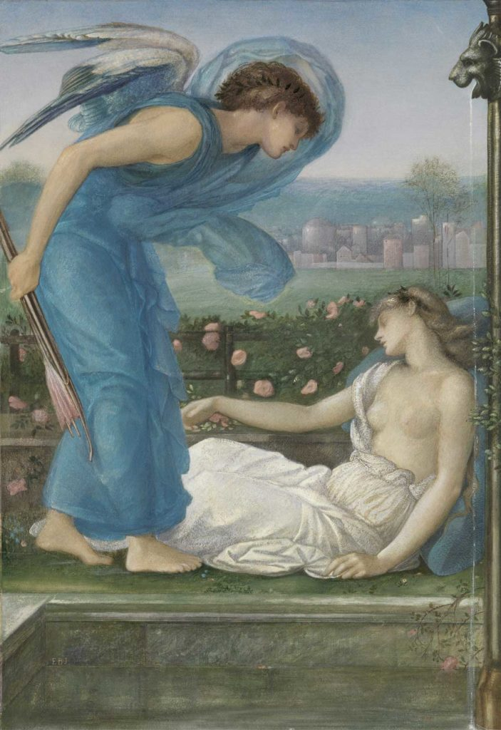 a painting of two figures one holding a quiver of arrows leaning over a prone bare breasted female