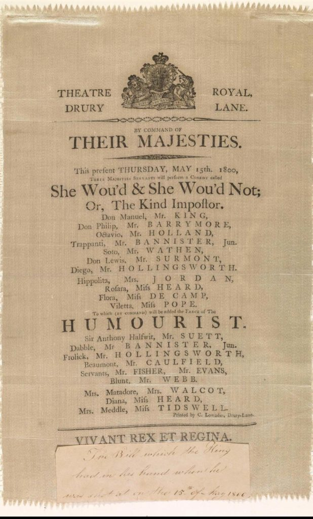 a playbill from the Georgian period