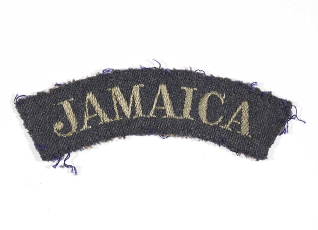 a photo of a shoulder flash insignia with the word Jamaica