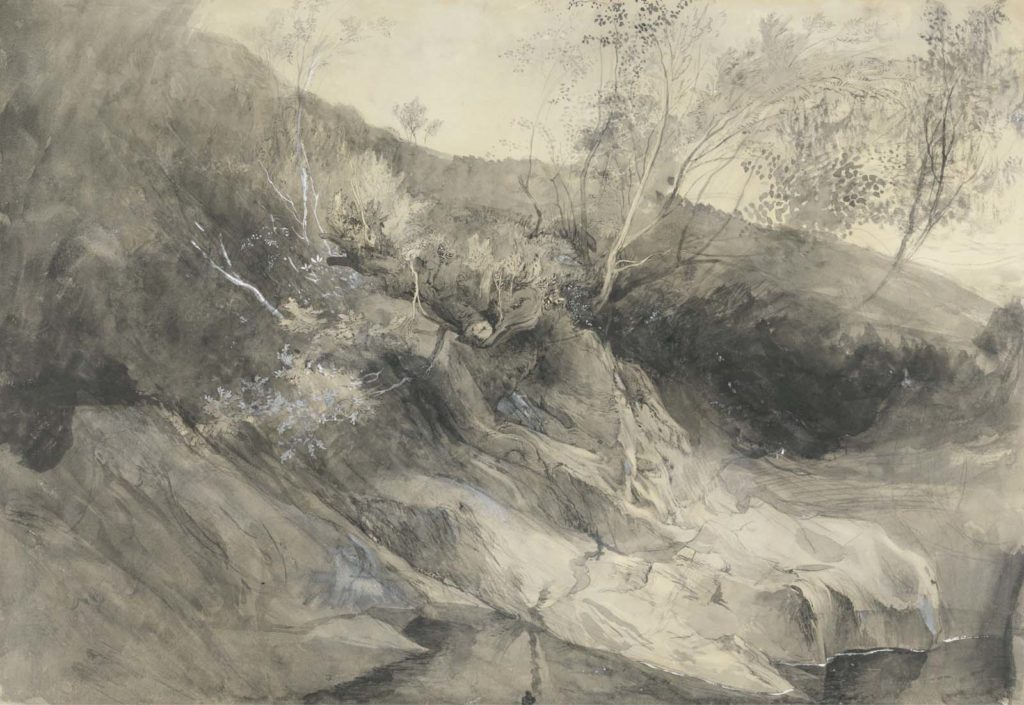 a painting in muted greys of a riverbank with trees