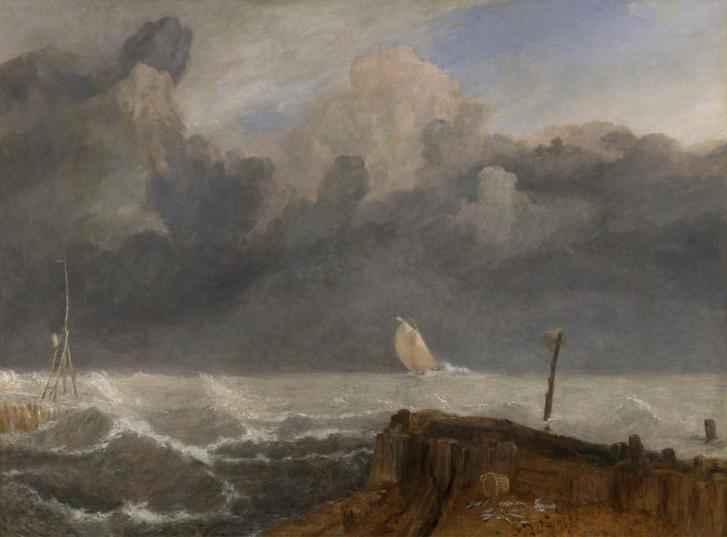 a painted view out to a stormy sea with a sailing boat in the distance