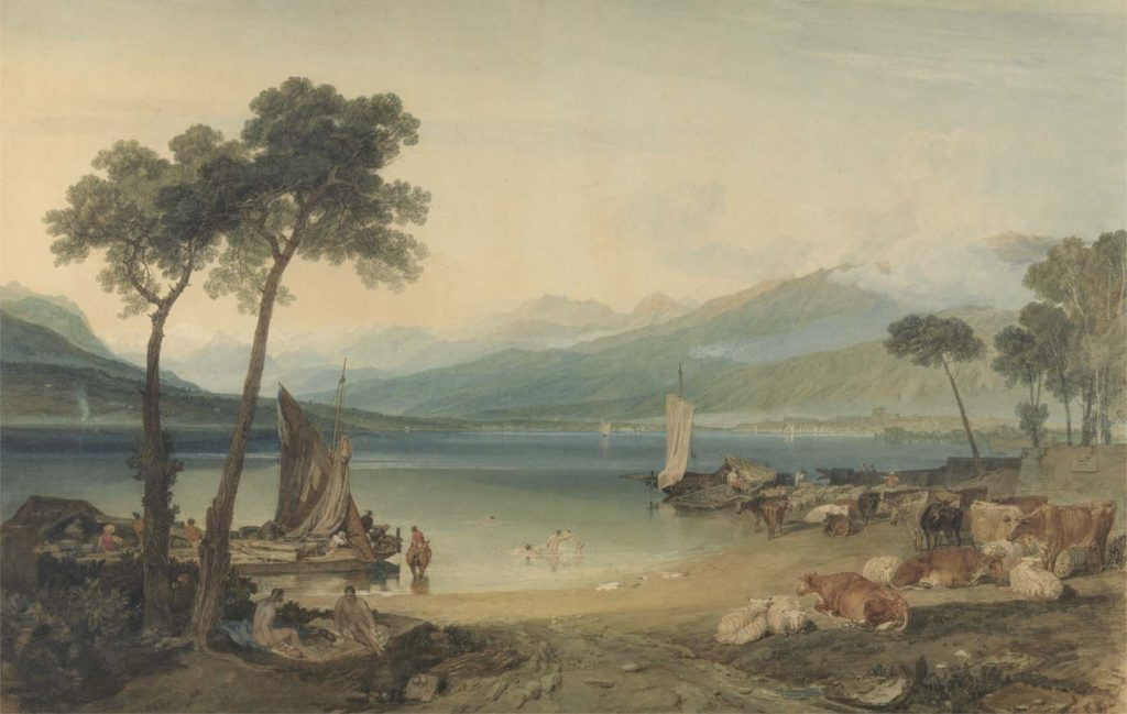 a watercolour painting of tranquil lake with boats in the foreground