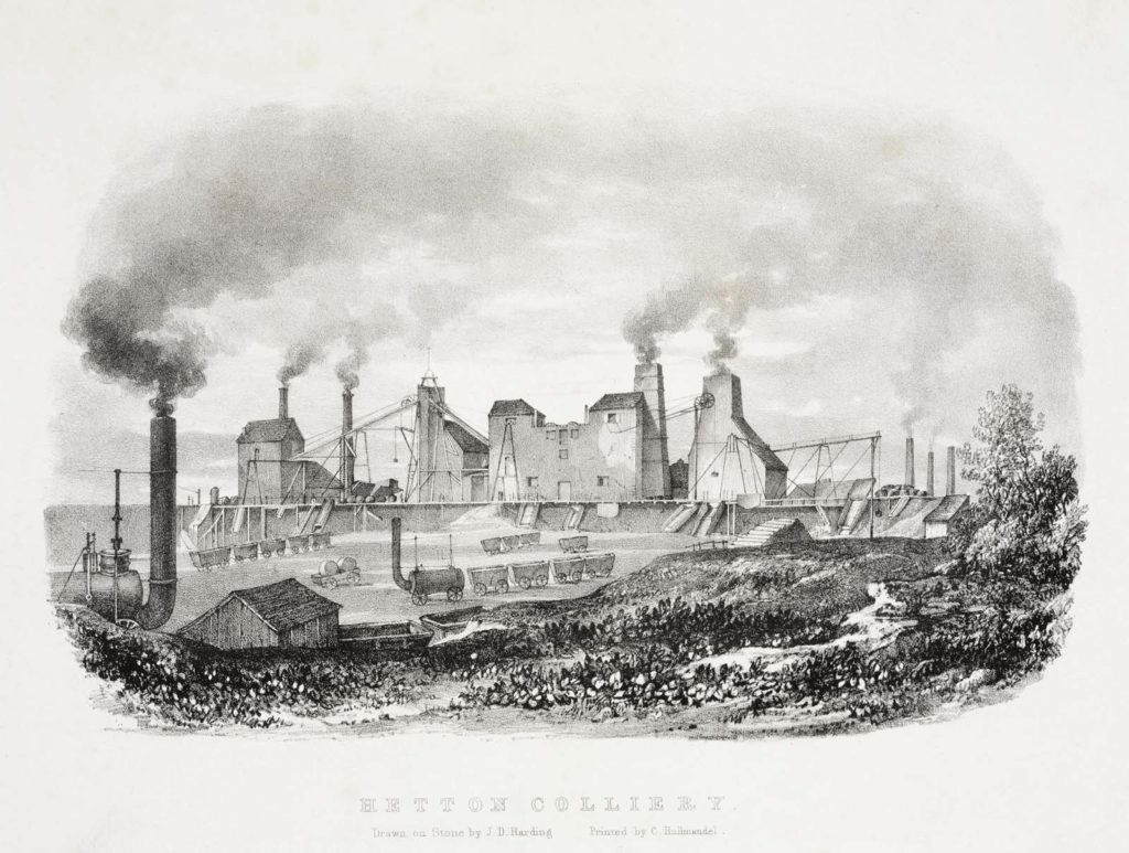 an old drawing of a colliery with slag heaps, chimneys and winding gear