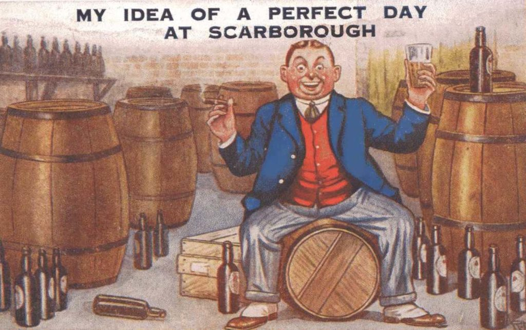 a humorous seaside postcard showing a man sat on a beer barrel in a brewery
