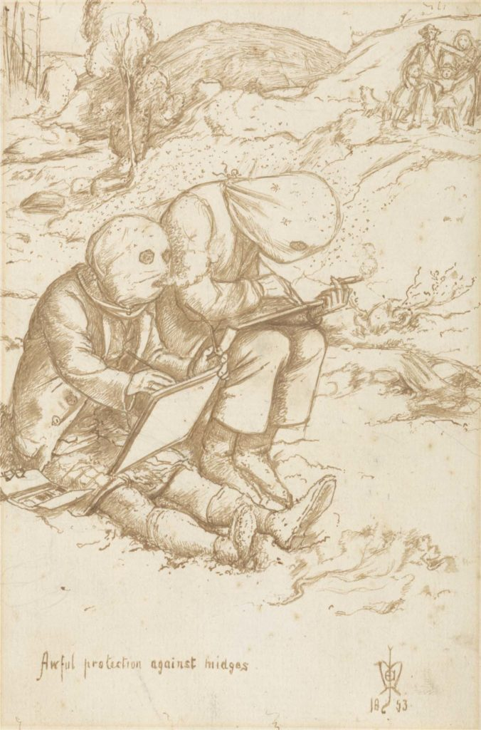 a ketch of two artists sketching with full head coverings as midges circle them