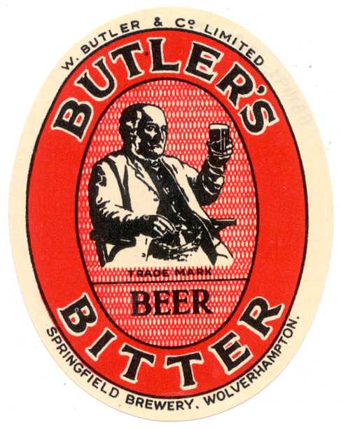 butlers bitter beer mat with an image of a chap admiring a pint
