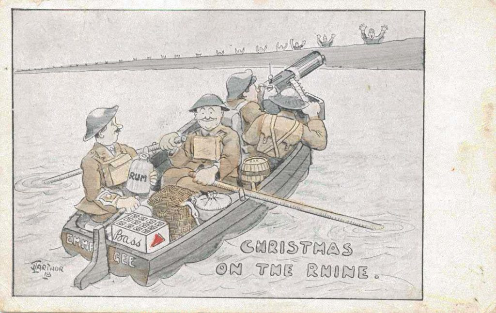 a postcard drawing showing a group of four WWII British soldiers crossing the Rhine with a machine gun and several crates of beer