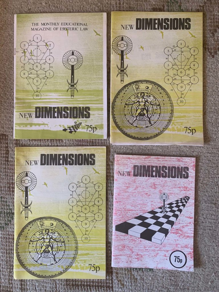 four 'new dimensions' magazines, with magical symbols on the covers