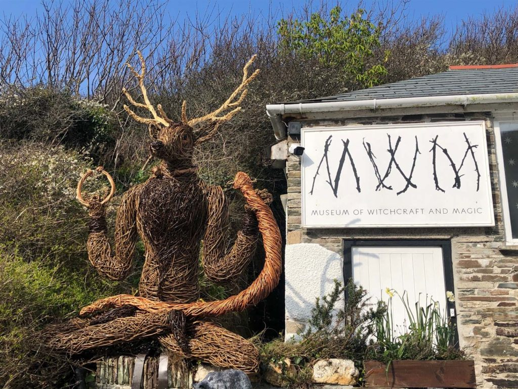 photo of a woven stag figure outside a museum
