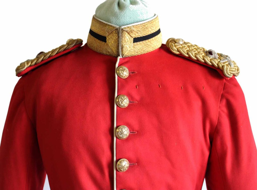 a close up of a red slodier's tunic