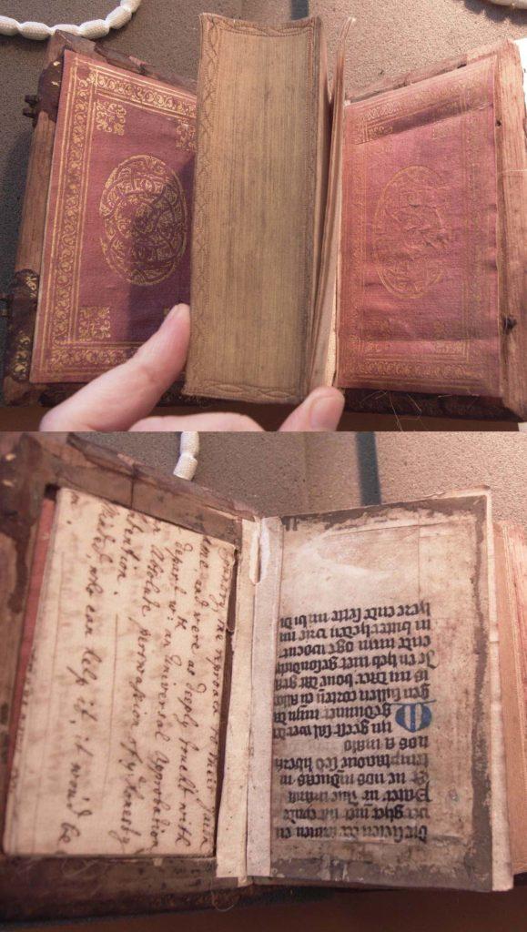 a photo of a handwritten note hidden in an old book