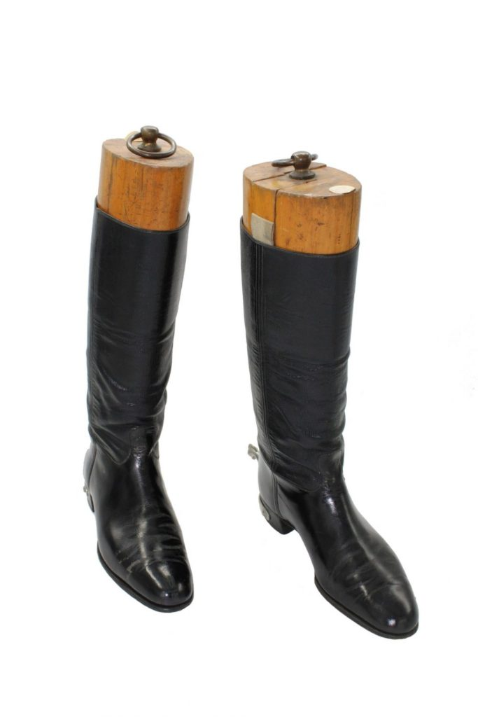 a pair of Wellington leather riding boots