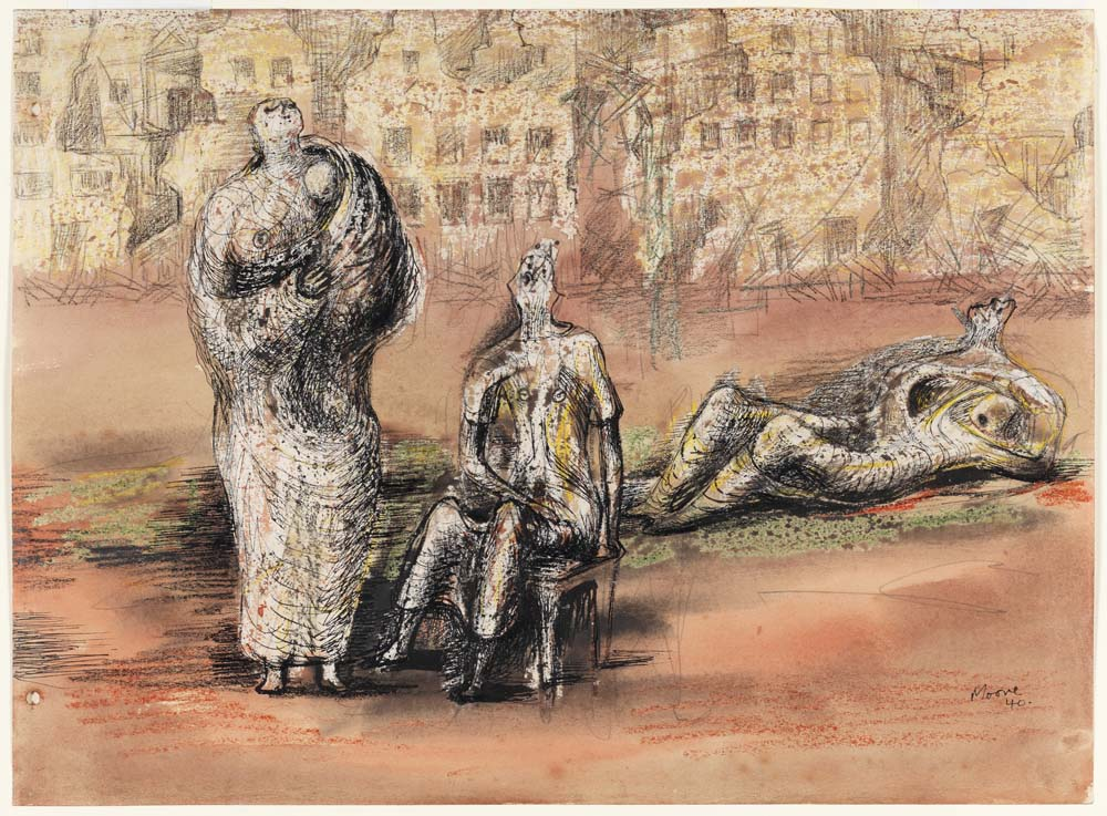 a drawing of thre figures huddled before a landscape of bombed buildings