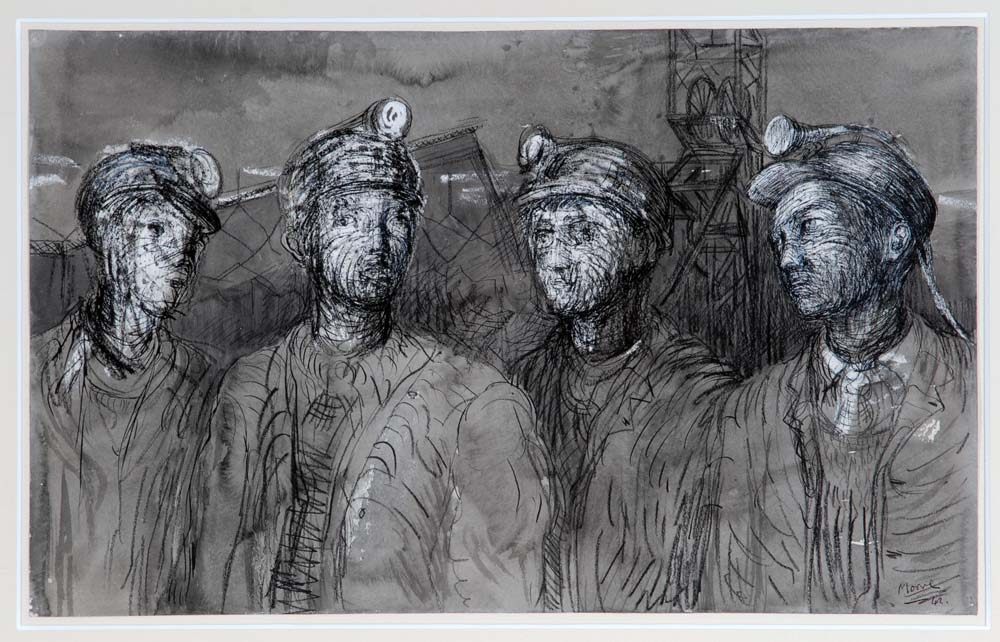 a sketch of three young miners with safety helmets and lamps