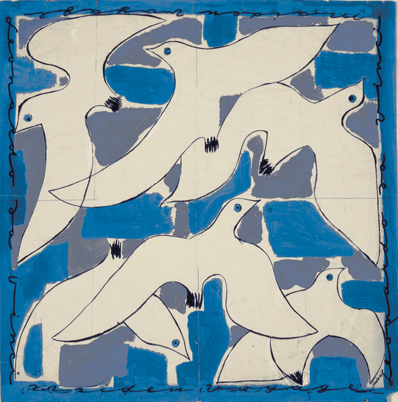 design for scarf showing seagulls overlapping on a blue background