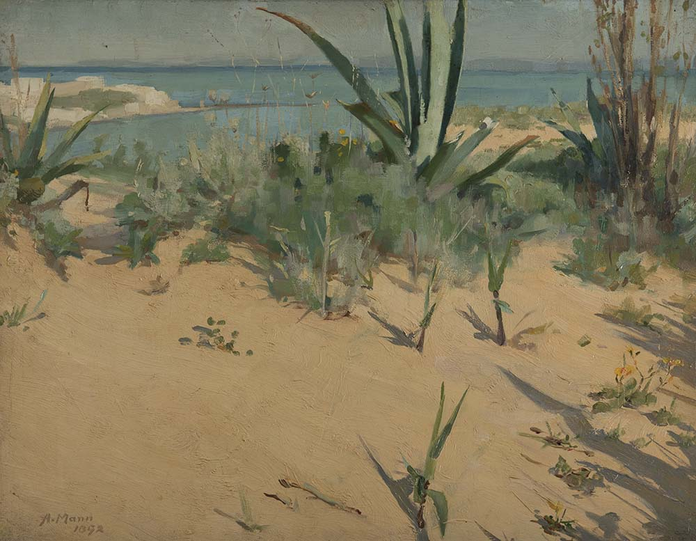 painting of coastal grasses and cactus looking across sand dunes towards a bay