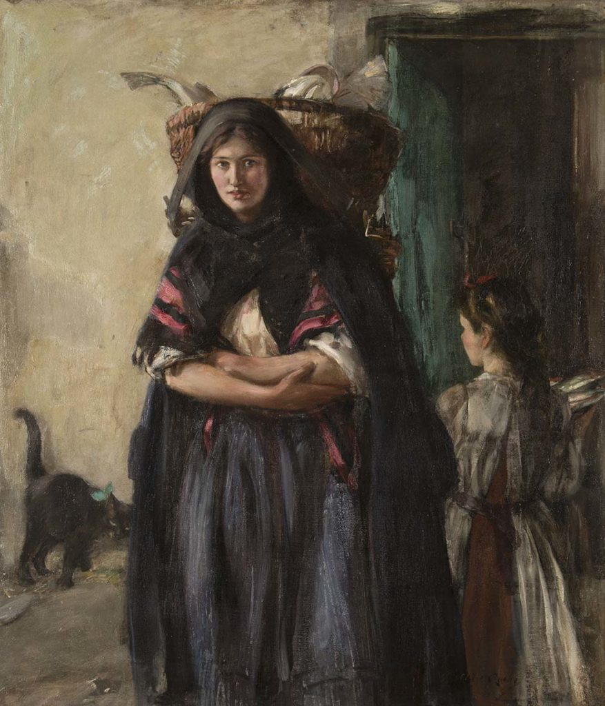 a painting of a woman carrying a basket around her head and shoulders