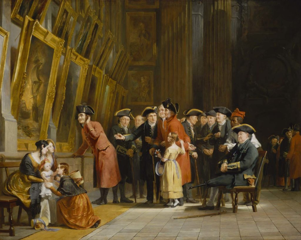 a painting depicting a group of sailor pensioners crowding round a alrge oil painting of a ship aflame