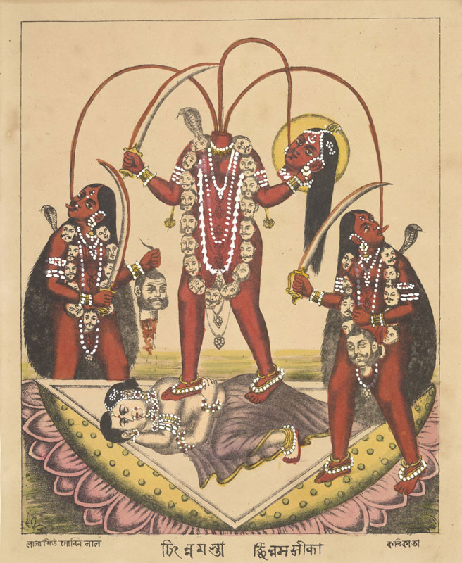 illustration of Hindu goddess Chinnamasta stood on an embracing couple and holding her own severed head
