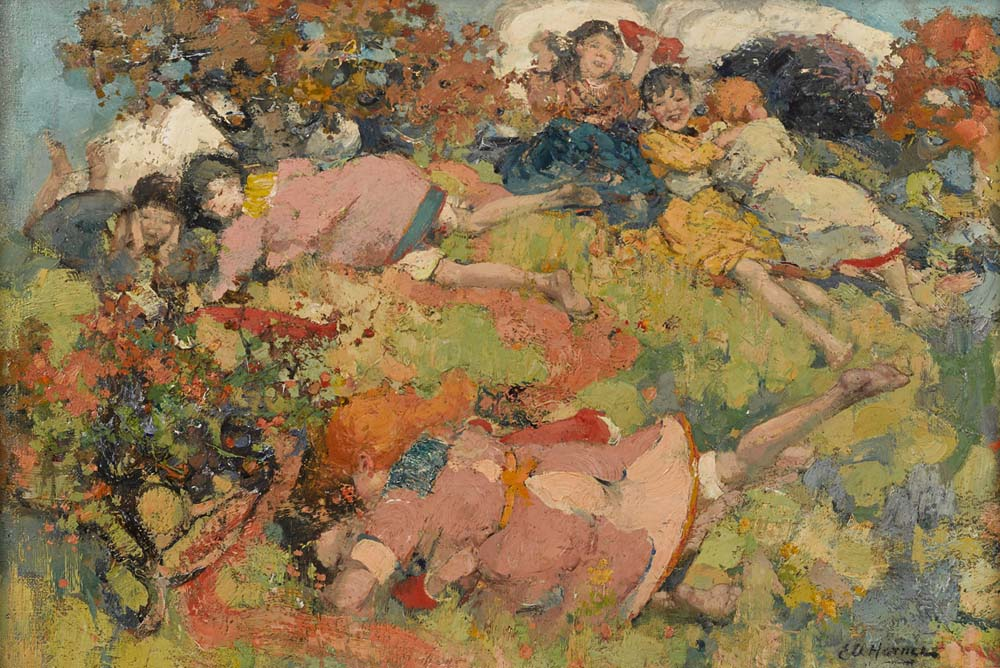 a painting of children rolling around a hillside in summer