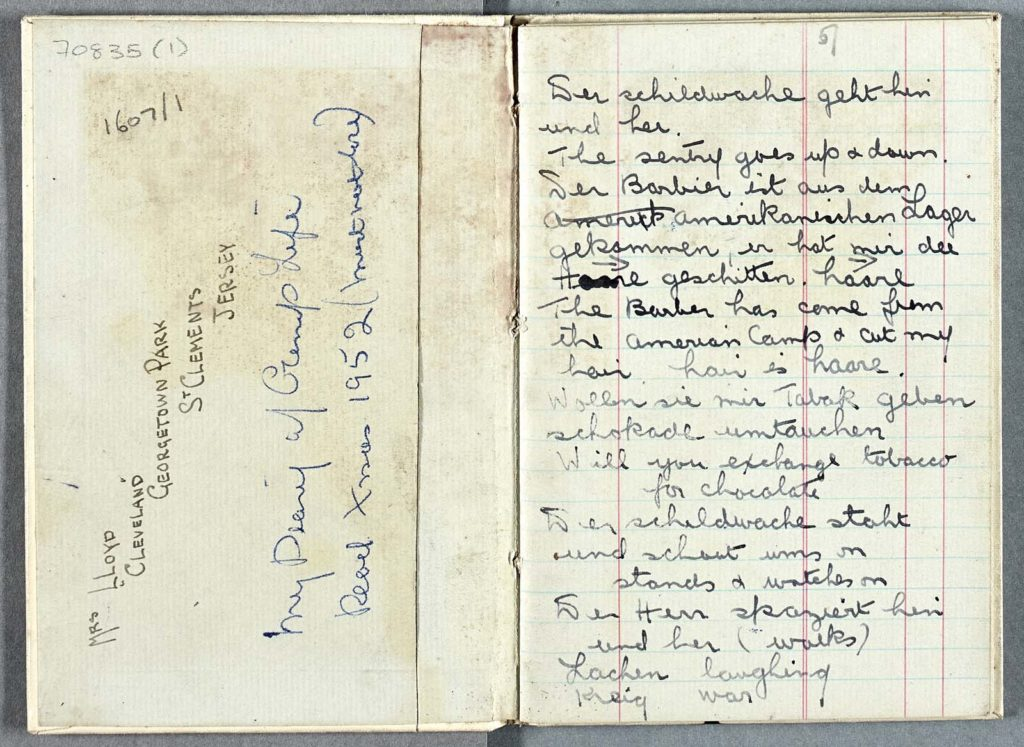 open pages of a handwritten diary