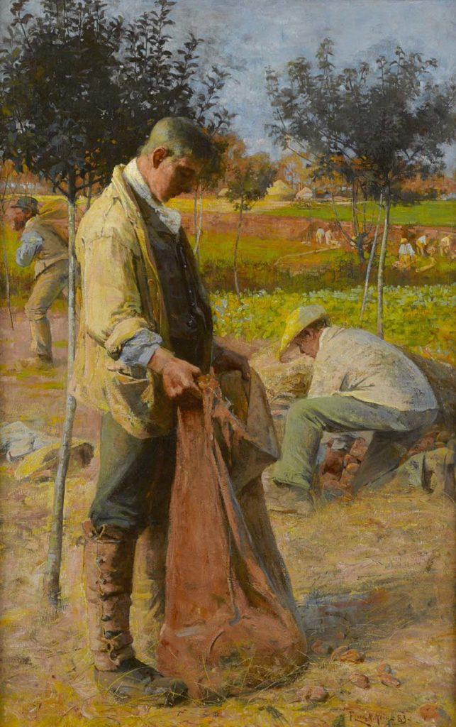 a painting of a man holding a sack as he works with others in a field
