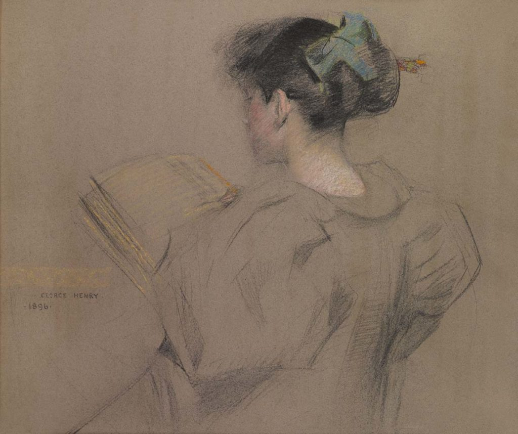 a painting of a girl with her hair in a bun reading a book