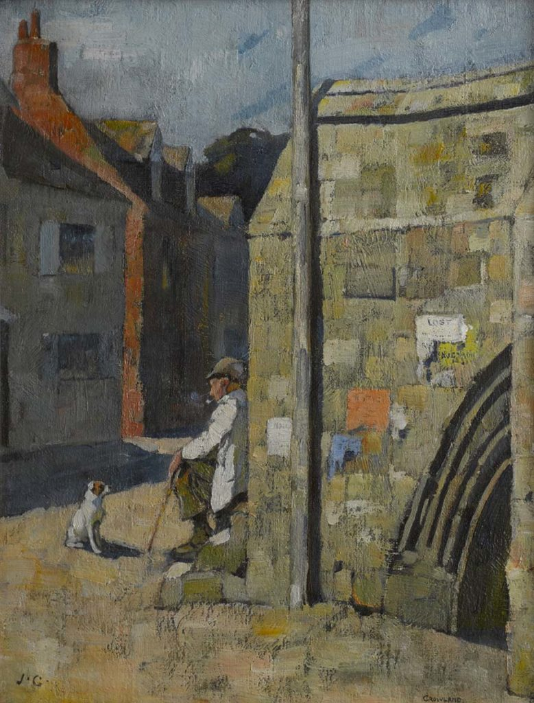 a piting of the corner of a stone bridge with a man leaning against it