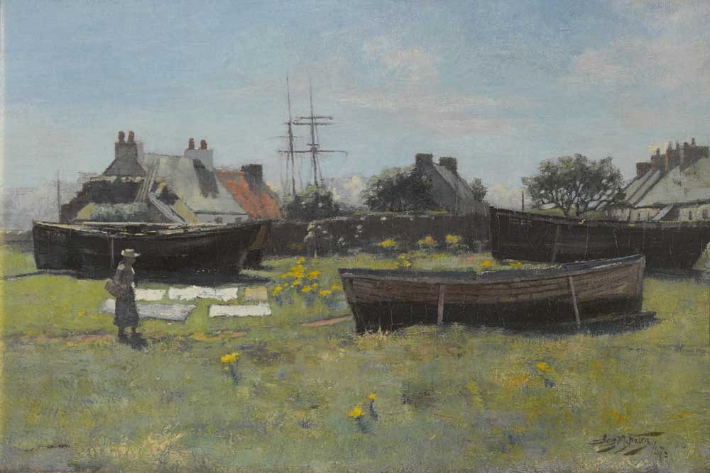 a painting across a river and meadow with boats dry docked in the distance