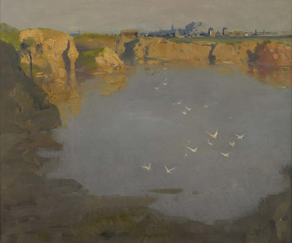 a painted view across a bay towards cliffs