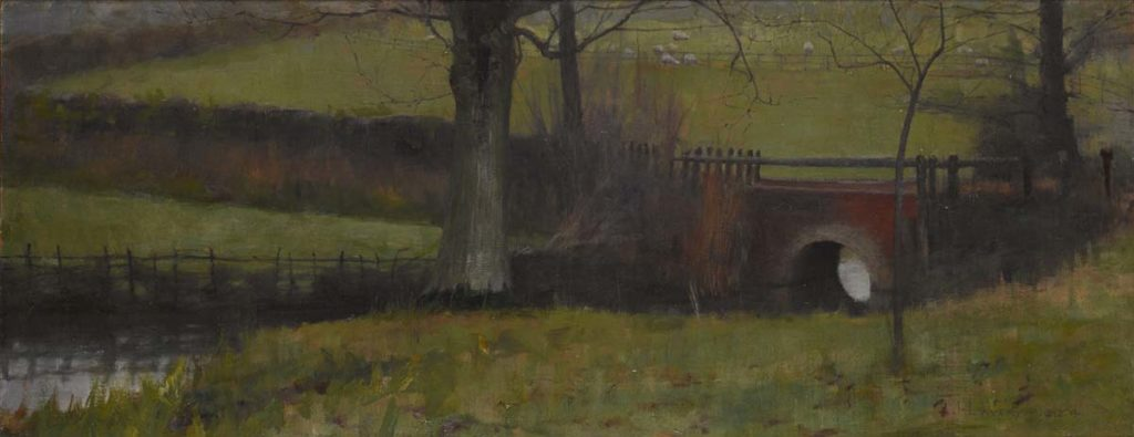 a dark painting of a bridge and trees across fields