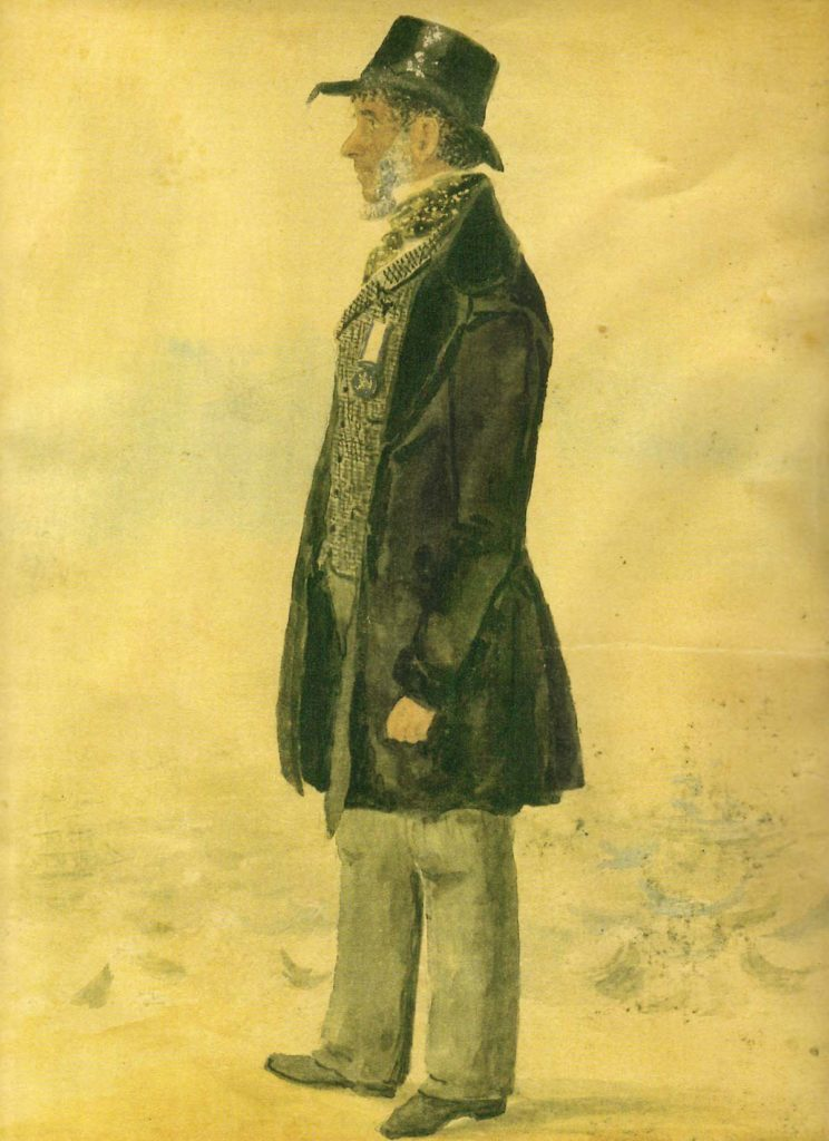 a drawing of an African sailor veteran in frock coat and top hat