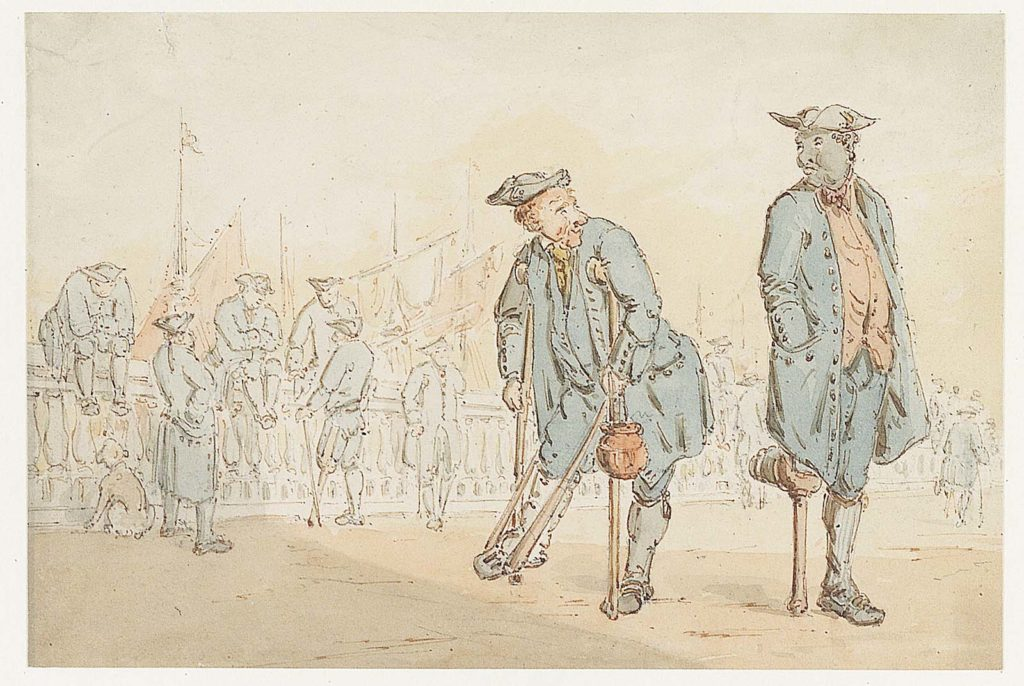 sketch of sailors with peg legs and tricorn hats