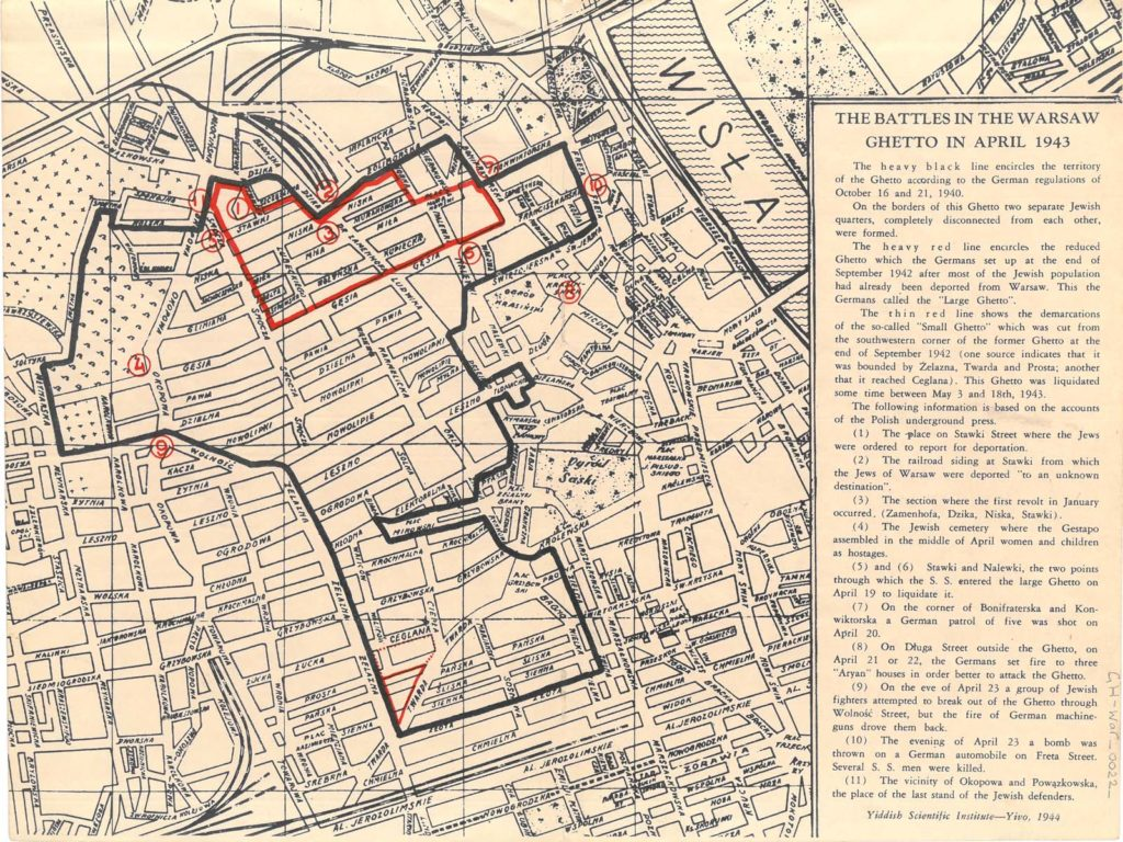 photo of a map and key showing Warsaw with areas marked out in red