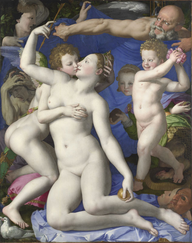 painting of Venus and Cupid embracing as Cupid attempts to steal Venus's crown and Venus attempts to steal Cupid's arrow