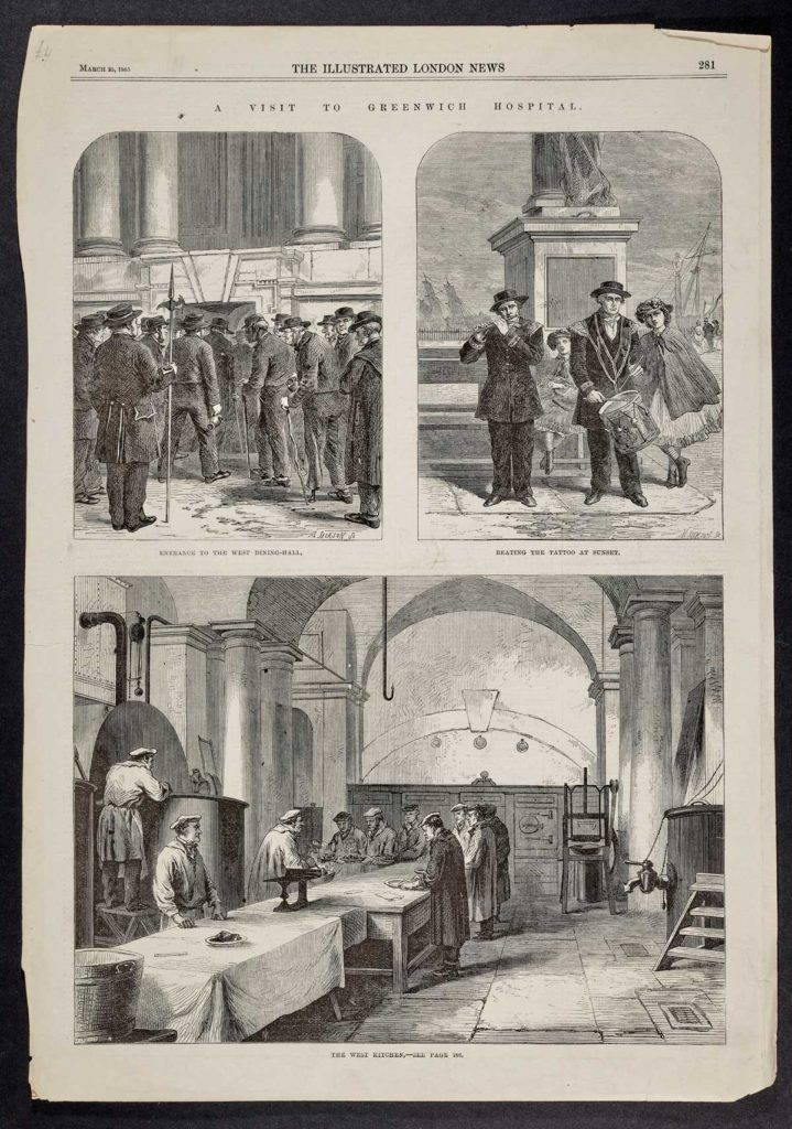 a series of illustrations showing scenes inside the Greenwich Hospital including the canteen ans scenes of sailor queuing to get in