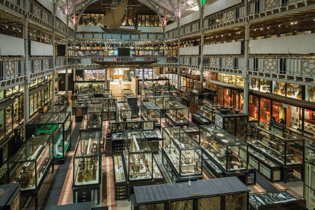 elevated view of Pitt Rivers Museum packed with display cases