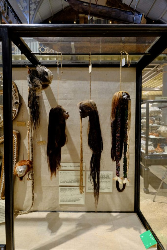 photo of a display case with shrunken heads hanging from strings