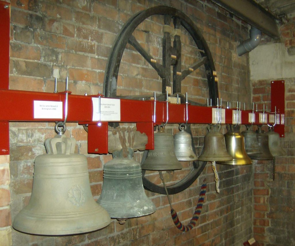 a photo of a series of bells bracketed on to a wall